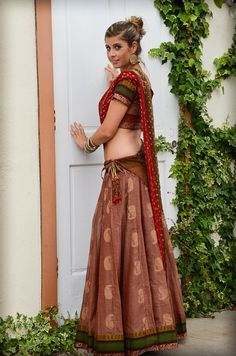 South Indian Gopi Skirt Outfit - Dusty Pink