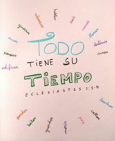 Todo tiene su tiempo - Lettering Gods Love Quotes, Quotes About God, Biblical Quotes, Bible Verses Quotes, Motivational Quotes, Inspirational Quotes, Prayer Verses, Faith In Love, God Loves You