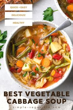 Vegetable Cabbage Soup - Full of fresh veggies, a whole head of cabbage, and flavorful herbs this vegan cabbage soup recipe is a naturally healthy meal packed with flavor! #cabbagesoup #healthy #veganrecipes Vegan Meals, Vegan Recipes Easy, Whole Food Recipes, Eating Vegan, Clean Eating Diet, Cabbage Soup Recipes, Healthy Protein, Easy Meals, Gluten Free