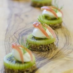 {recipe} Canapés for Christmas - Kiwi on pumpernickel with cream cheese plus three more recipes.