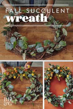 Faux leaves, Billy Ball flowers, and artificial or real succulents add tons of texture to this truly unique DIY fall wreath. Follow the easy step-by-step directions below to make yours now! #falldecor #fallideas #wreathideas #fallwreath #wreath #bhg