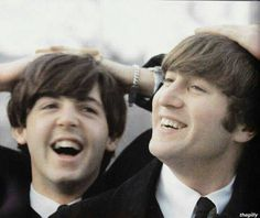 Paul McCartney and John Lennon (I found this on Facebook & loved it!!)