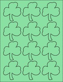 "Pastel Green - Clover Stickers - St. Patricks Day Printable Labels  2.3605"" x 2.5027"""