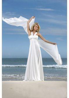 A-line White Halter Floor-length Beach Wedding Dress