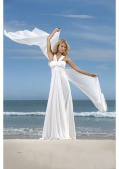 A-line White Halter Floor-length Beach Wedding Dress