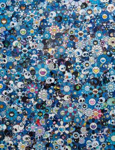 "Takashi Murakami ""Skulls & Flowers Blue"", 2013. Acrylic on canvas on aluminum frame. 78 3/8 x 60 1/4 inches, ©2013 Takashi Murakami / Kaikai Kiki Co., Ltd."