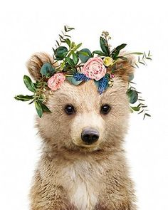 Flower Baby Animal Canvas Prints - 40x50cm / Bear