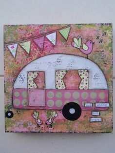 For the glamper wall  pink and green cute caravan - mixed media