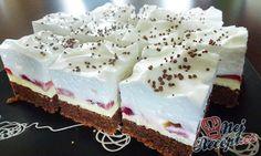 Svěží ovocný dezert s čokoládovým těstem, vanilkovým krémem a šlehačkou. Výborná dobrota. Mňam! Autor: Jaja