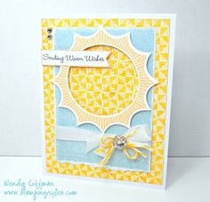 Stamping Rules!: Happy Birthday, Sunshine! I have this stamp and this paper! Love the blue with te yellow