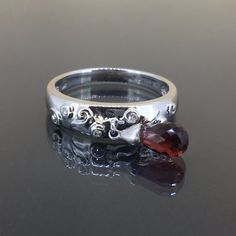 Authentic Sonia B 14k gold natural Diamond & Garnet dangling modern Fancy ring by crystalanchor on Etsy