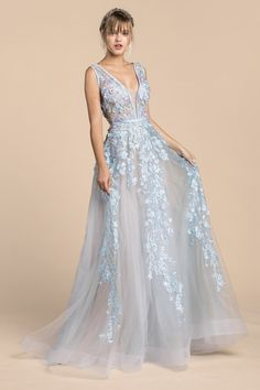 Light Blue tulle ball gown with beautiful floral applique details. Tulle  Ball Gown bde165ee4da1