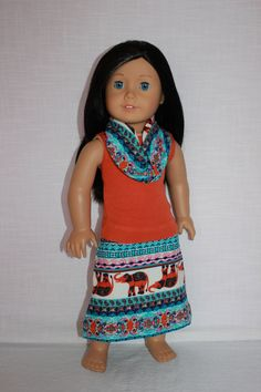 18 inch doll clothes, orange tank top, tribal print maxi skirt with matching infinity scarf, elephant print doll skirt, Upbeat Petites by UpbeatPetites on Etsy