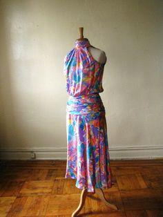 VINTAGE 1980s  WATERCOLOR Silk Print Tea Dress by vintageshaun, $55.00