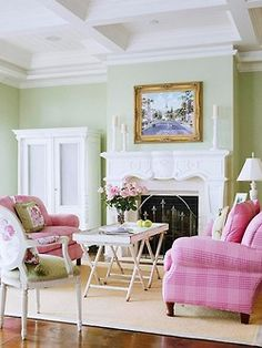 Green Walls And Pink Furniture Adds A Soft Elegance To This Sitting Room Living
