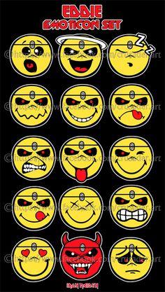 Iron Maiden - Eddie Emoticon Set by croatian-crusader
