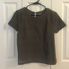 Olive green mixed material, slightly cropped top Cute olive green shirt with lace-like front and cotton back LOFT Tops Tees - Short Sleeve