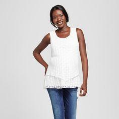 Maternity 2-Tier Crochet Tank Top Off White S - Ma Cherie Maternity