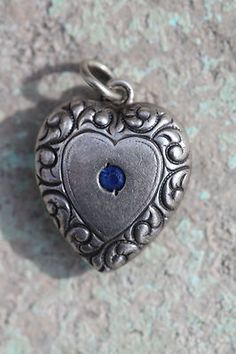 VINTAGE WALTER LAMPL STYLE STERLING SILVER PUFFY HEART CHARM FOR BRACELET                            #charm