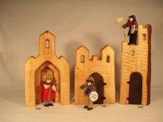 Kathedrale, Turm mit Tür, Palast mit Tür. Waldorf Crafts, Waldorf Toys, Tiny Dolls, Scroll Saw, Wood Toys, Diy Toys, Dollhouse Furniture, Handmade Toys, Wood Art