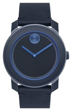 Movado 'Bold' Leather Strap Watch, 42mm available at #Nordstrom