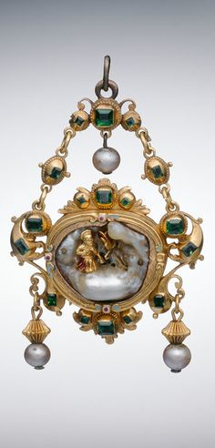 Pendant with the Penitent Saint Jerome, mid-17th - early 18th century, Spain, gold, enamels, emeralds, baroque pearl, and pearls, 6.5 x 4.1 cm (2 9/16 x 1 5/8 in.)