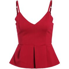 Spaghetti Strap Peplum Hem Tank Top ($14) ❤ liked on Polyvore featuring tops, shirts, blusas, tank tops, red, red vest, red singlet, red tank, red shirt and red top
