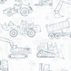 """This wallpaper transforms a little boy's or girl's room into a cool construction site. The images of bulldozers, front loaders and more are printed on a blueprint background. Select from blue or white background with contrasting sketch and add more color with Construction Border, Wide Multi Stripe or Construction Trucks wall decal. (Psst: Some grown up """"boys and girls"""" might like this, too.)"""