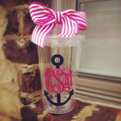 Preppy Anchor Monogrammed Tumbler by Tootlebugs on Etsy, $13.00