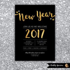 New Year's Eve Party, 2016/2017 Invitation, Christmas, Glitz Glamour party, Glitter Black Gold, Birthday Party by ChubbySparrow on Etsy