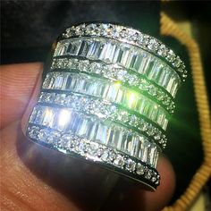 Size 5,6,7,8,9,10 Handmade Silver Square 5a Zircon CZ Stone Overlay Eternal Wedding Engagement Rings for Women and Men