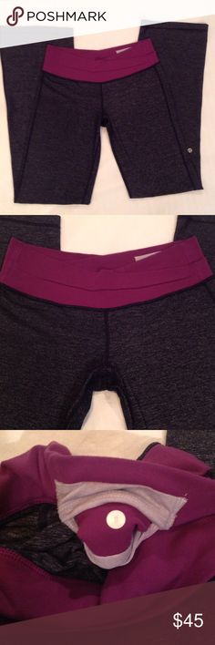 """Gray Lululemon Astro Pants Reposh. Great condition! Very comfortable, I'm so sad these aren't my size! 33"""" inseam. Astro pants. Bootcut. Purple waistband with hidden pocket. Slight pilling in crotch area, can't tell when looking at it only by feeling them. No tears, stains, rips, or odors. No trades. Bundle for discount. lululemon athletica Pants Boot Cut & Flare"""