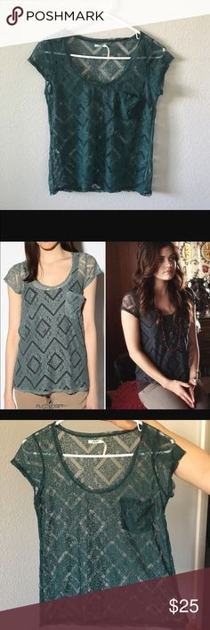 Urban Outfitters Top As seen on pretty little liars aria teal mesh top Urban Outfitters Tops Blouses