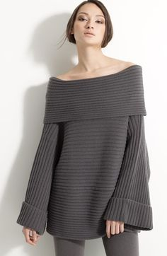 Free shipping and returns on Donna Karan Collection Slouchy Stretch Cashmere Sweater at Nordstrom.com. A shoulder-grazing fold-over neckline begins a wide-ribbed stretch-cashmere sweater with a dramatically relaxed shape.