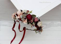 Burgundy beige flower crown Bridal hair wreath Woodland #weddingcrowns