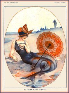 La-Vie-Parisienne-Nouveau-Mermaid-Sirene-France-Travel-Advertisement-Poster
