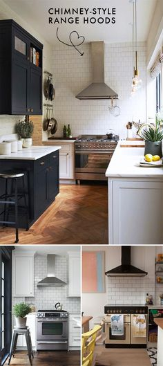 I love these black cabinets with white tile countertops. And white walls. My future kitchen.