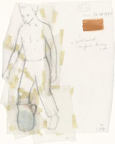 Francis Alÿs, Untitled (Boy with Jug), 2000 Oil and pencil on cut-and-taped transparentized paper, x 20 cm Illustrations, Illustration Art, Collages, Bokashi, Georges Braque, Mexican Artists, Jasper Johns, Sketchbook Inspiration, Moma