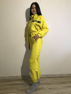 9ce56b9f21 Vintage 80s 90s Yellow One Piece Ski Suit Yellow Ski Suit Yellow  Snowboarding Yellow Snowsuit Jumpsuit Small Size
