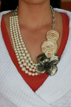 Peaches and Cream Pearled Flower necklace