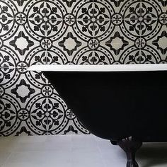 White and Black Bathroom Concept with Bristol Cement Tiles