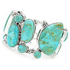 Gem Insider® Sterling Silver Turquoise Adjustable Toggle Bracelet