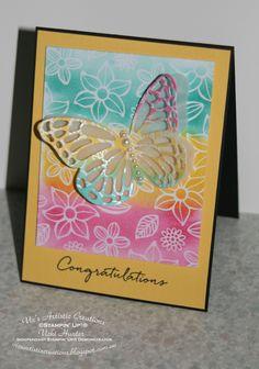 #stampinup #vicsartisticcreations #crazycraftersbloghopwithgeorgiaguiere #boldbutterflies #congratulations #cardmaking #papermaking #congratulationscard #butterfly #butterflies