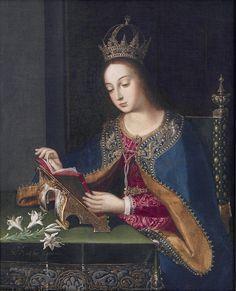 La Virgen Leyendo,16?1 / The VIRGIN READING by Baltasar de ECHAVE ORIO 'the Elder'. (Artist. Basque, Spain 1548 - circa 1620 Mexico).