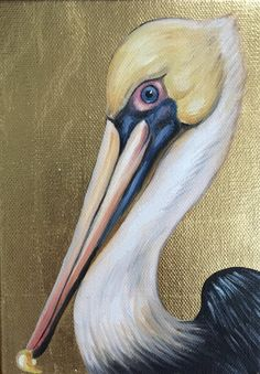 inch gallery wrap canvas, gilded with oil painting of pelican Pelican Drawing, Pelican Art, Oil Painting Techniques, Art Techniques, Painting Tutorials, Louisiana Art, Louisiana Swamp, Scratchboard Art, Mini Canvas Art