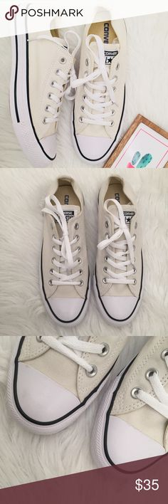 NWOT Converse Low Top All Stars in Off-White NWOT, a couple small discolorations to white rubber soles from being tried on in the store. Off white/cream color. Fit men's 7 or women's 9. Converse Shoes Sneakers