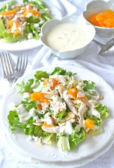 Mandarin Orange Chicken Salad with Creamy Orange Vanilla Yogurt Dressing