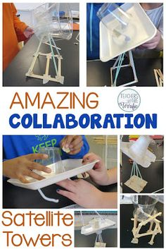 STEM Challenge: Students work in two teams. One team designs the satellite dish and the other designs the tower. In the end the two teams join these together!