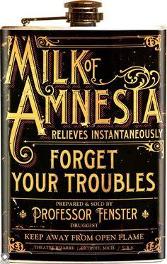 Retro A Go Go - Theatre Bizarre Milk of Amnesia Flask - Buy Online Australia Beserk Halloween Apothecary, Halloween Potions, Halloween Bottles, Halloween Labels, Halloween Fun, Jar Labels, Bottle Labels, Vintage Labels, Vintage Ads