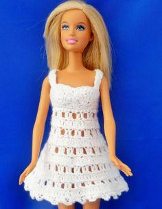Boho chic white hand crochet dress for Barbie doll by MilkaKnits, $5.99